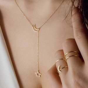 Dainty Gold Moon & Star Lariat Necklace